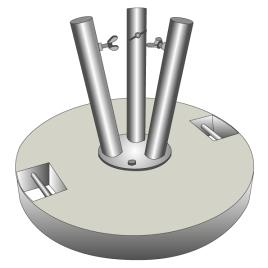 Betonsockel für Fahnenstangen grau 60 kg für 3 Stangen Ø 28-35 mm